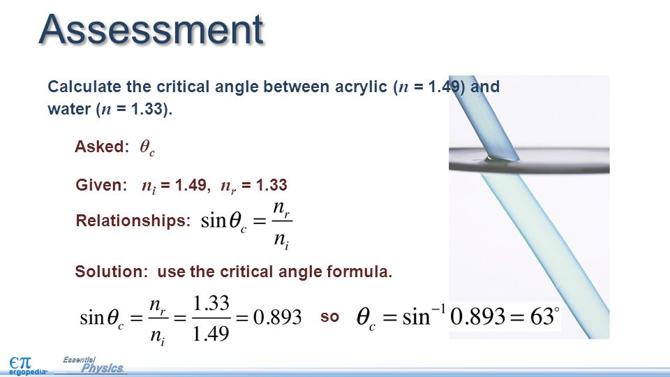 Assessment Calculate the critical angle between acrylic (n = 1.49) and water (n = 1.33). Asked: θc.