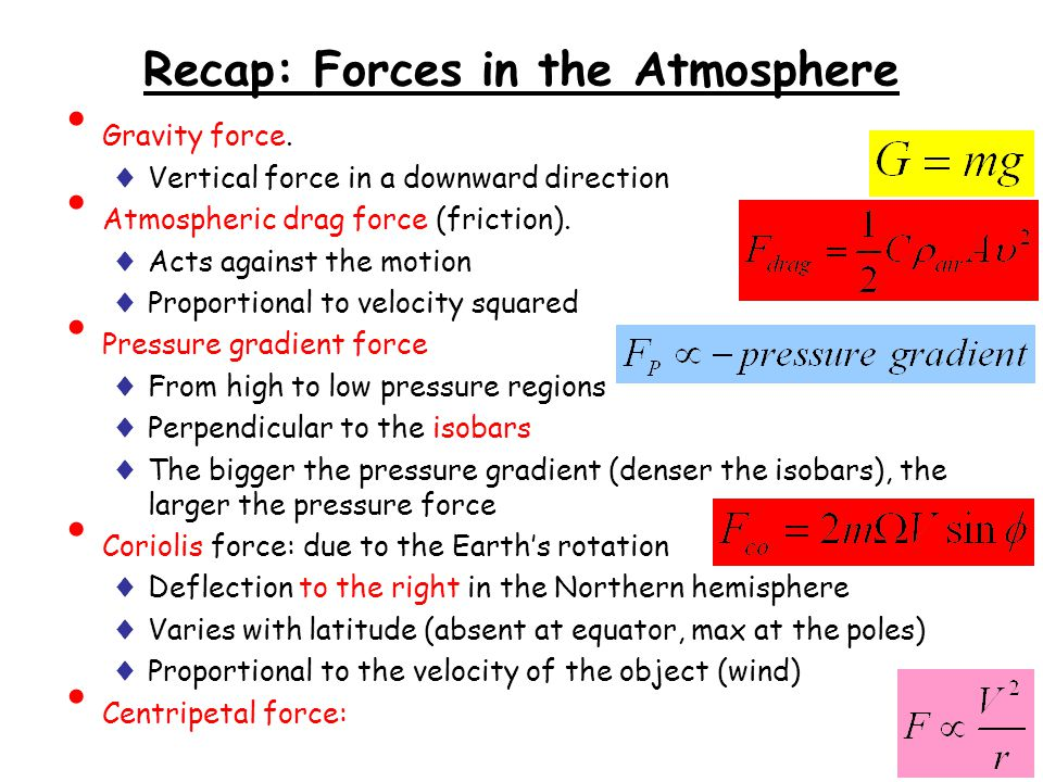 Recap: Forces in the Atmosphere
