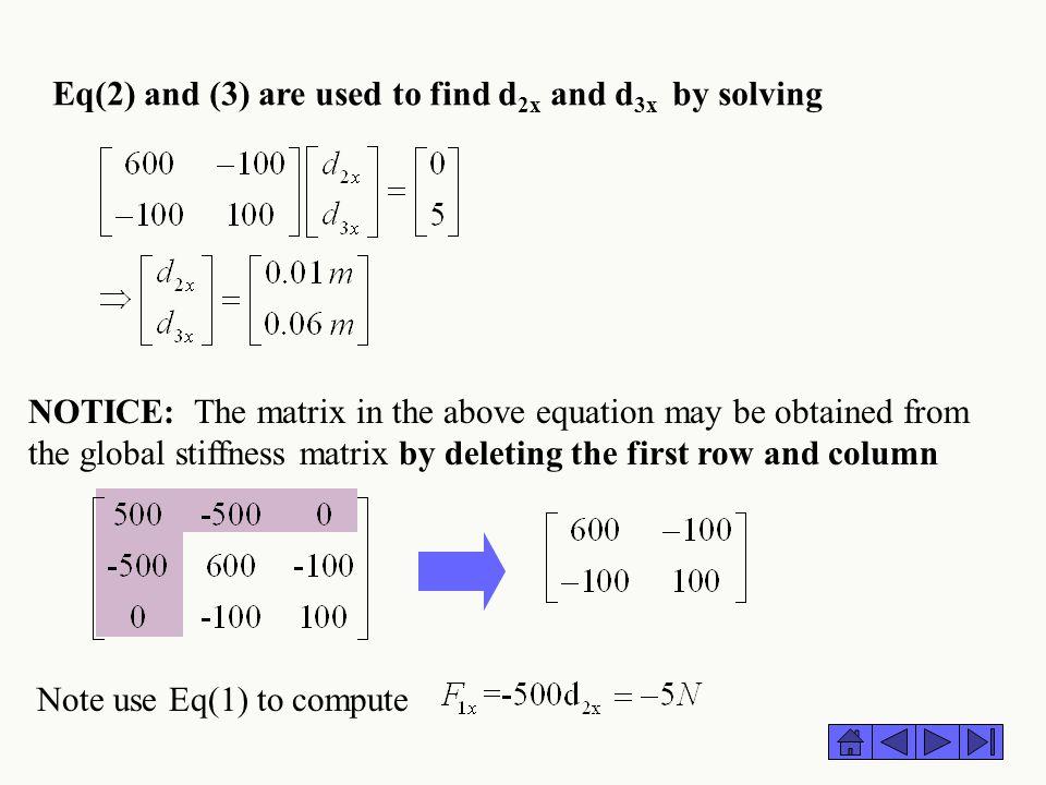 Eq(2) and (3) are used to find d2x and d3x by solving