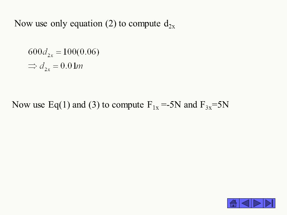 Now use only equation (2) to compute d2x