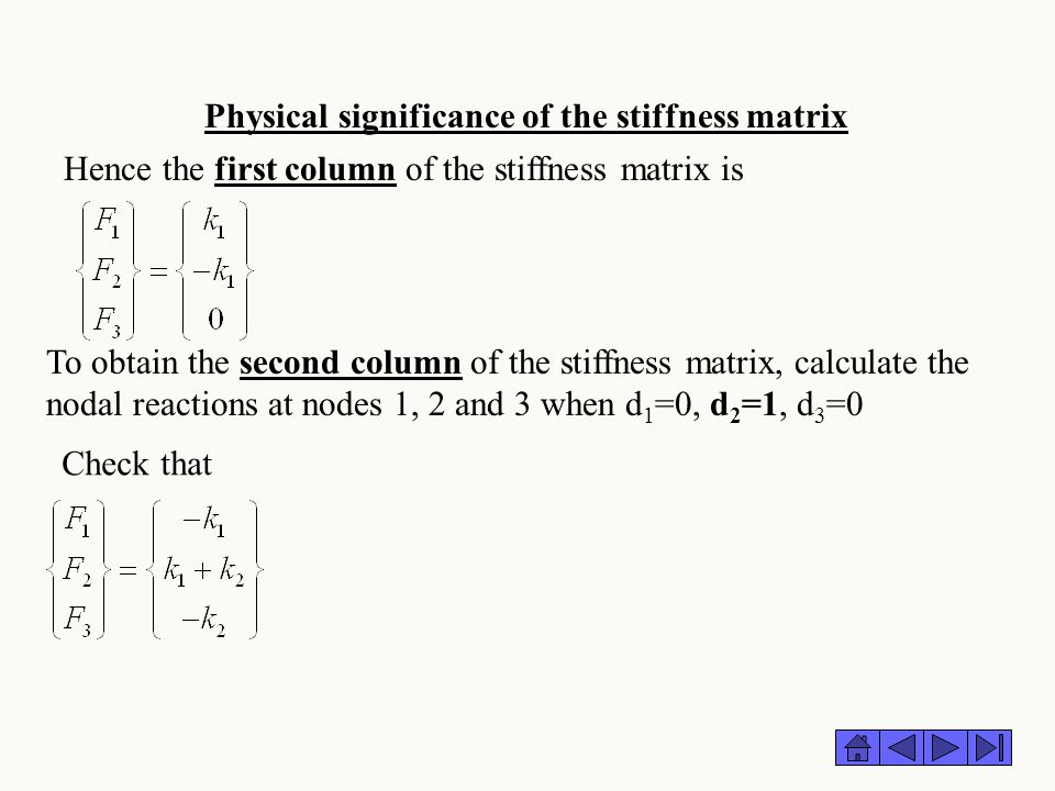 Physical significance of the stiffness matrix