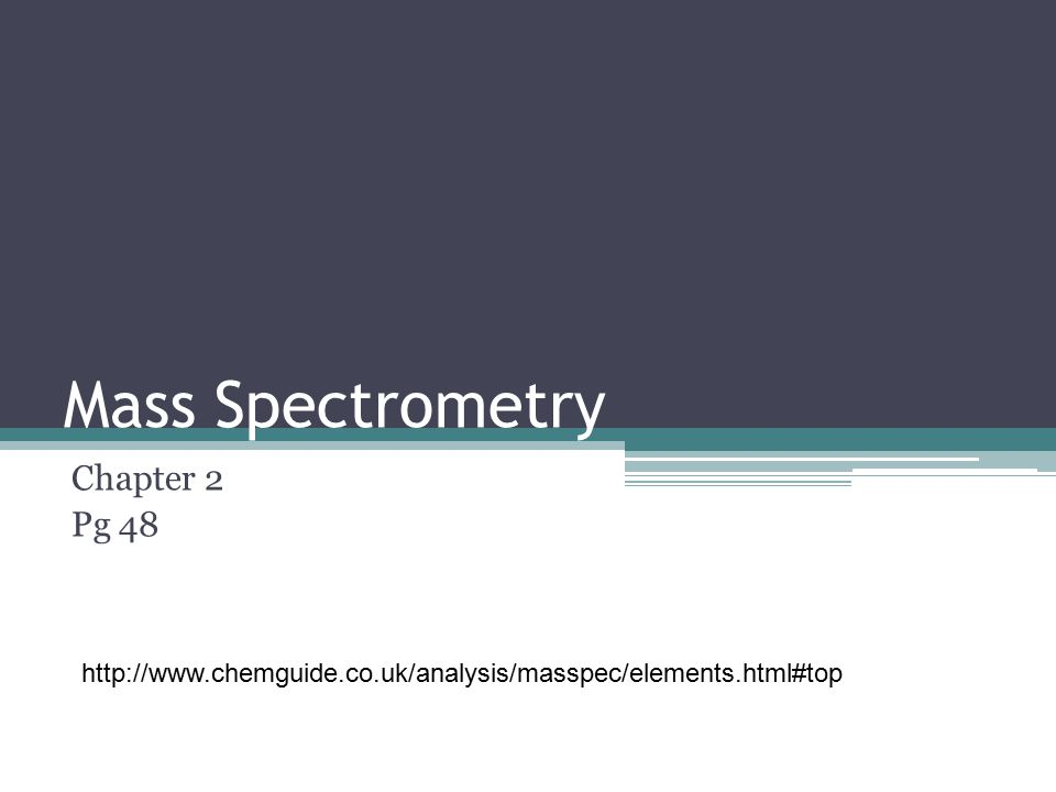 Mass Spectrometry Chapter 2 Pg 48