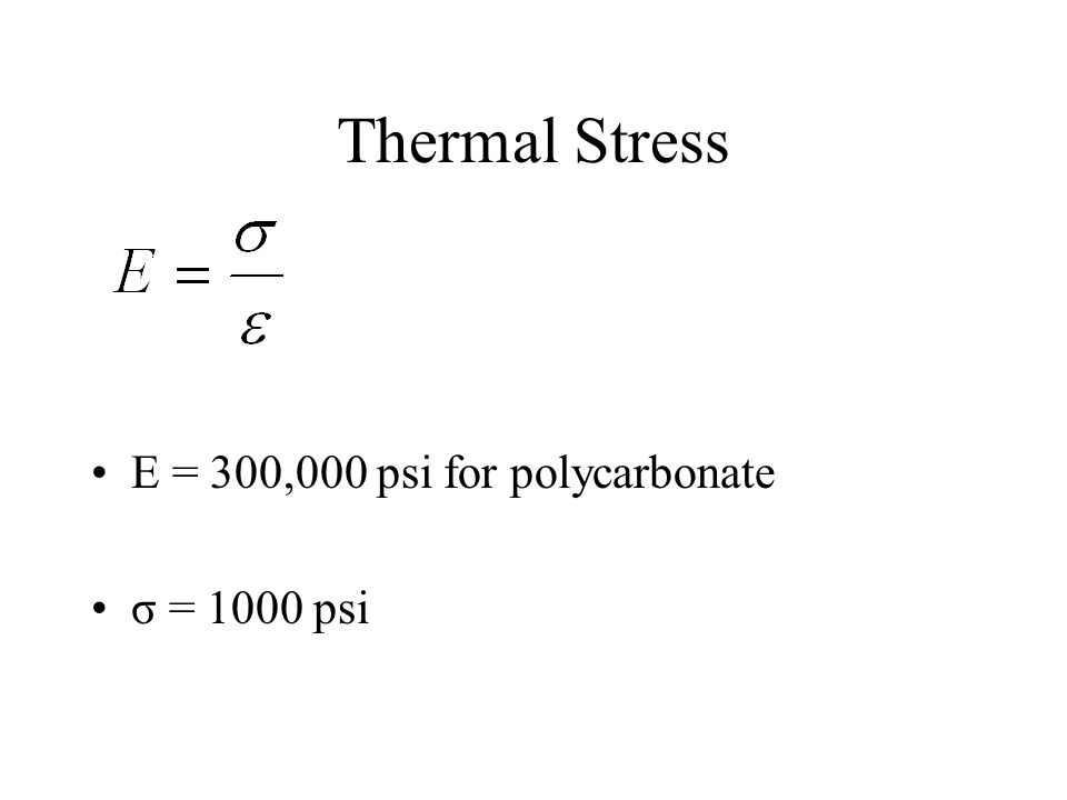 Thermal Stress E = 300,000 psi for polycarbonate σ = 1000 psi