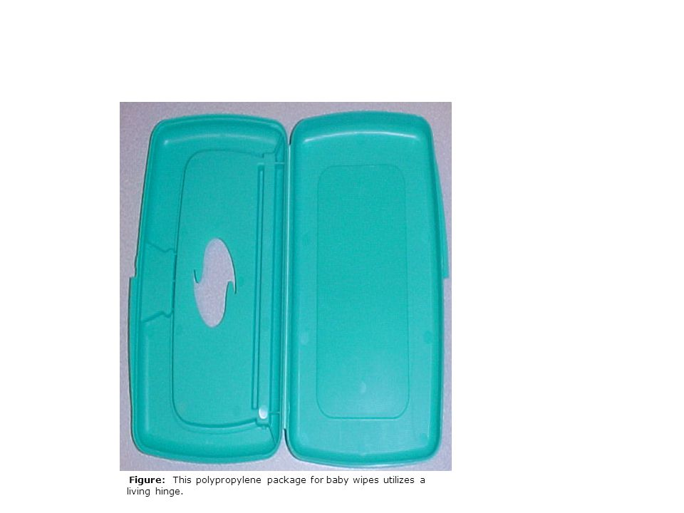 Figure: This polypropylene package for baby wipes utilizes a living hinge.