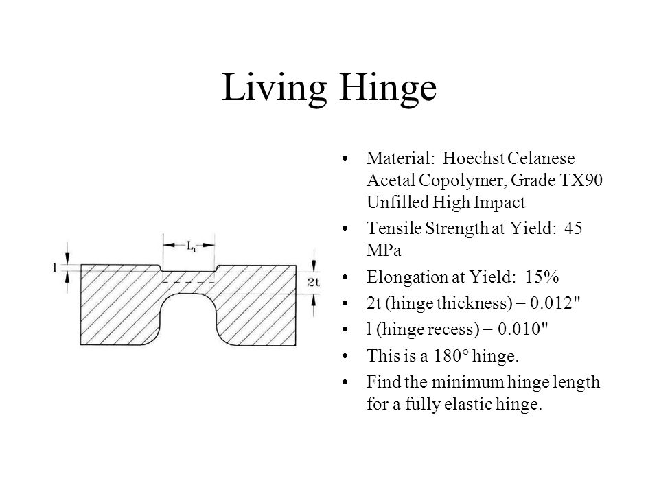 Living Hinge Material: Hoechst Celanese Acetal Copolymer, Grade TX90 Unfilled High Impact. Tensile Strength at Yield: 45 MPa.