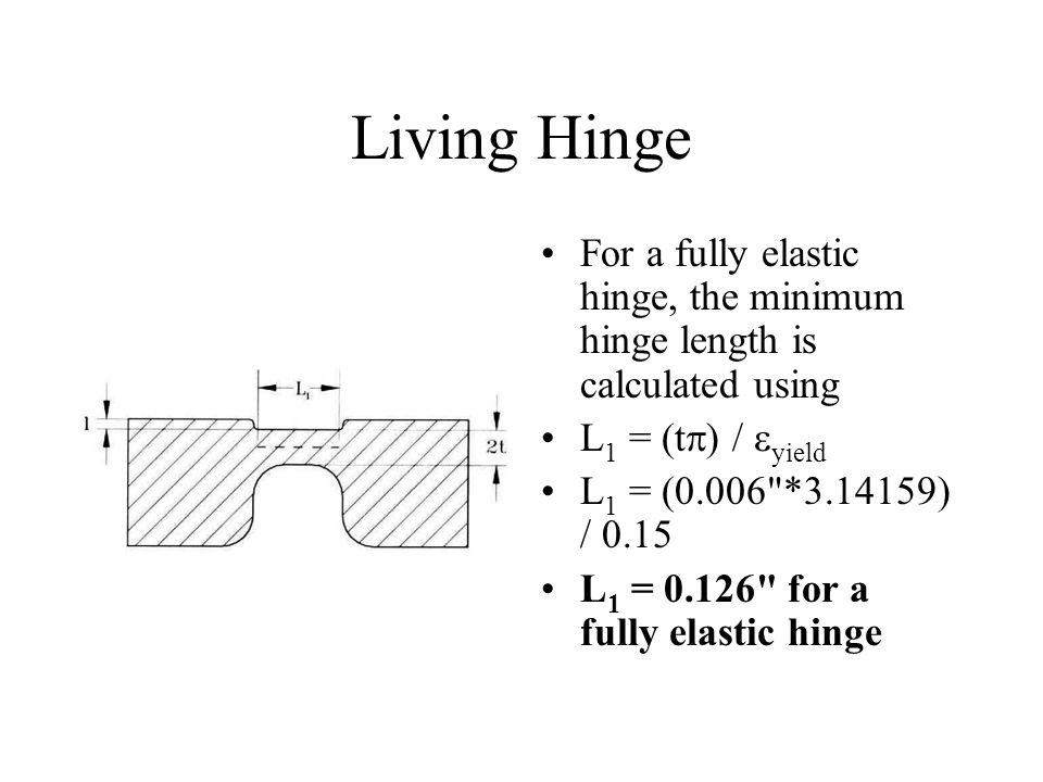 Living Hinge For a fully elastic hinge, the minimum hinge length is calculated using. L1 = (t) / yield.