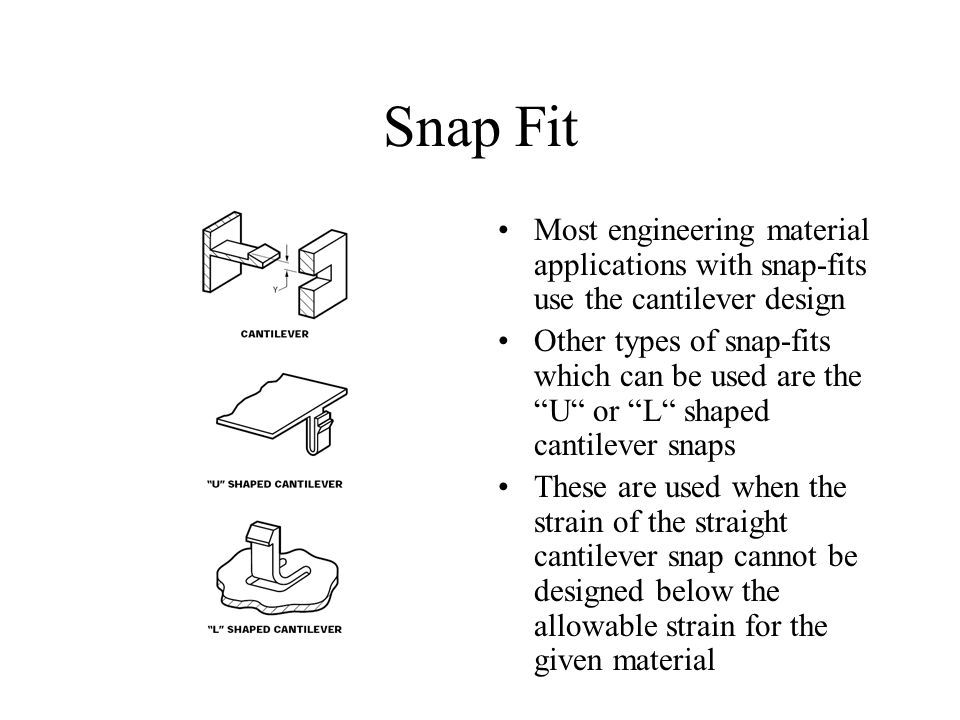 Snap Fit Most engineering material applications with snap-fits use the cantilever design.