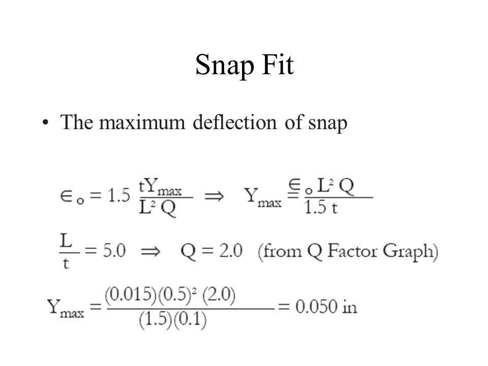 Snap Fit The maximum deflection of snap