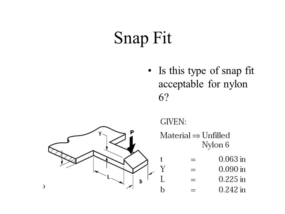 Snap Fit Is this type of snap fit acceptable for nylon 6