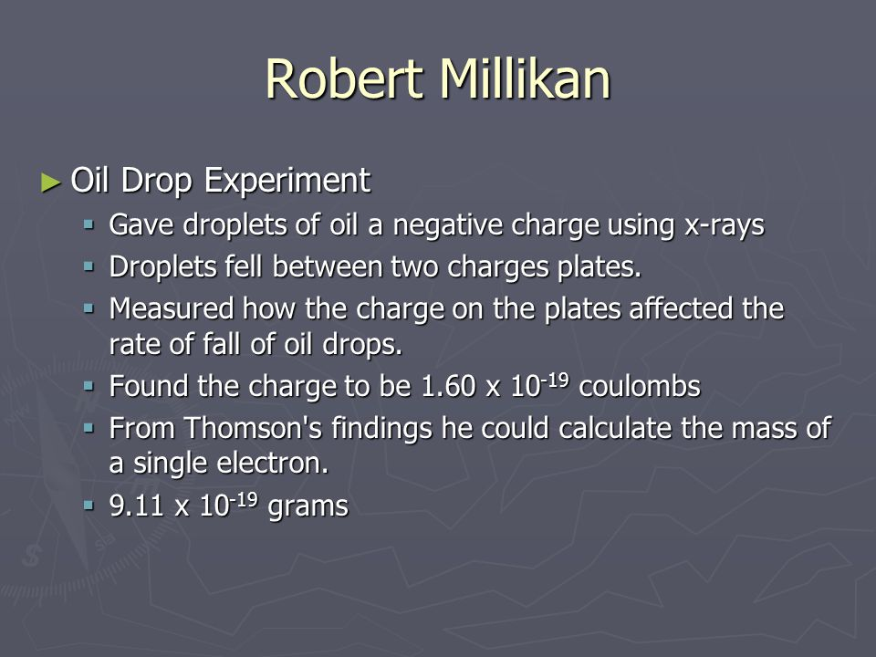 Robert Millikan Oil Drop Experiment