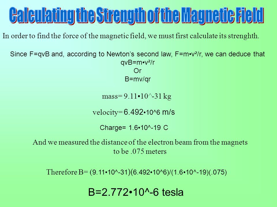Calculating the Strength of the Magnetic Field