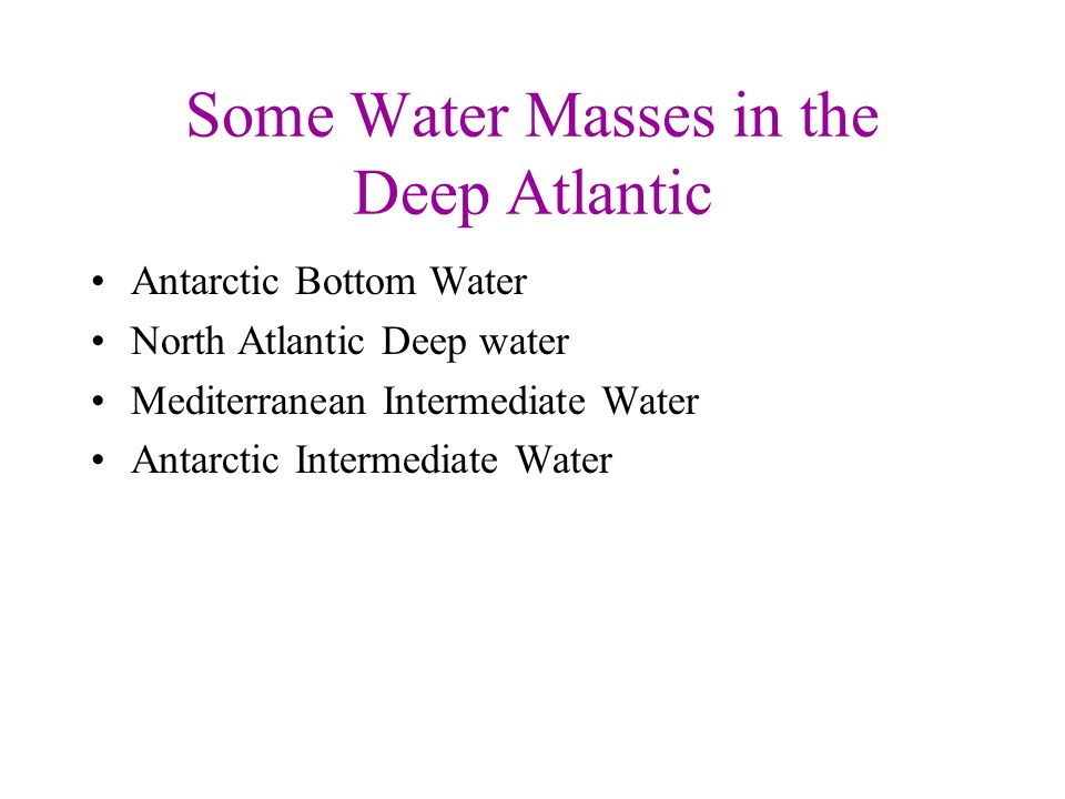 Some Water Masses in the Deep Atlantic