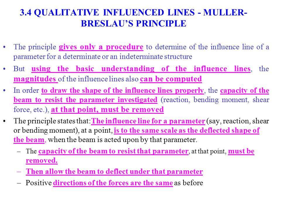 3.4 QUALITATIVE INFLUENCED LINES - MULLER-BRESLAU'S PRINCIPLE