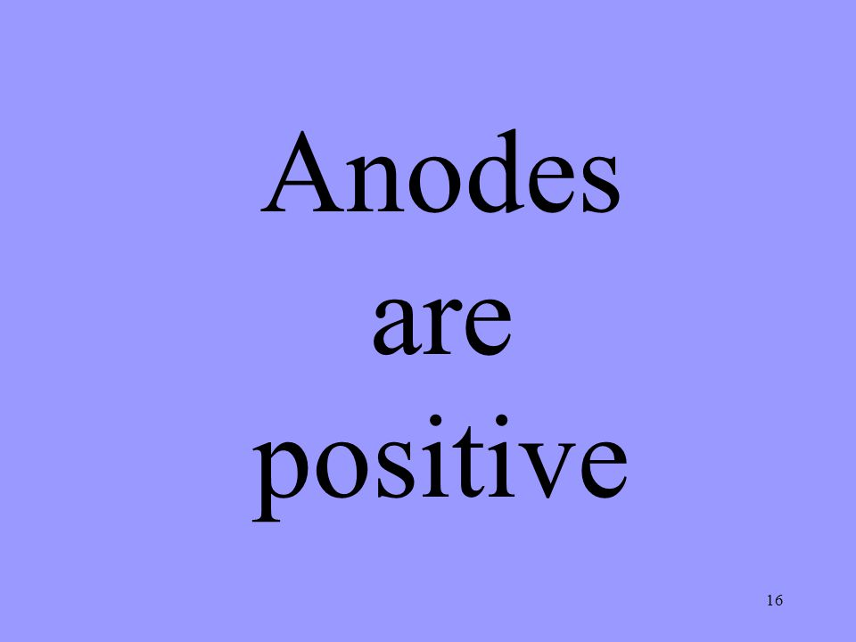 Anodes are positive