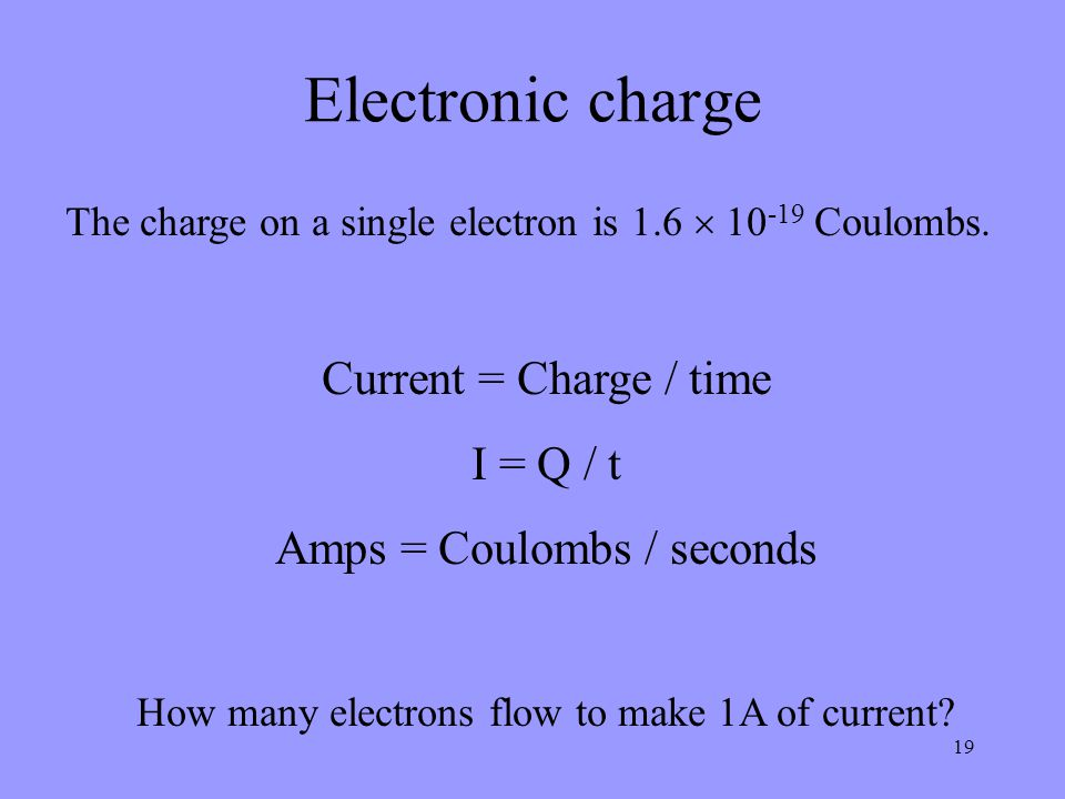 Electronic charge Current = Charge / time I = Q / t