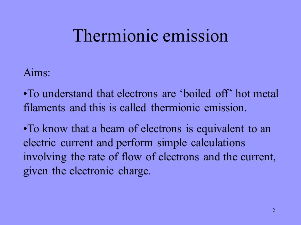 Thermionic emission Aims: