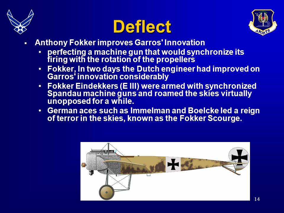 Deflect Anthony Fokker improves Garros Innovation