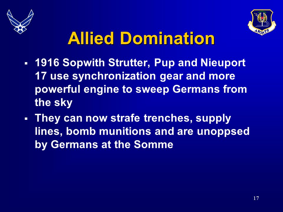 Allied Domination 1916 Sopwith Strutter, Pup and Nieuport 17 use synchronization gear and more powerful engine to sweep Germans from the sky.