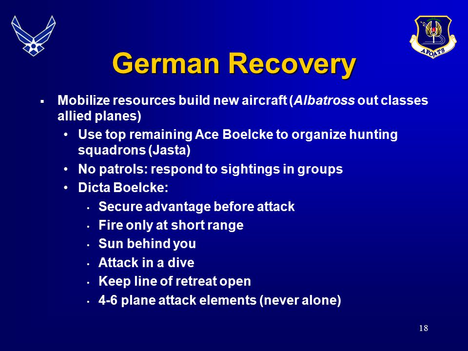 German Recovery Mobilize resources build new aircraft (Albatross out classes allied planes)