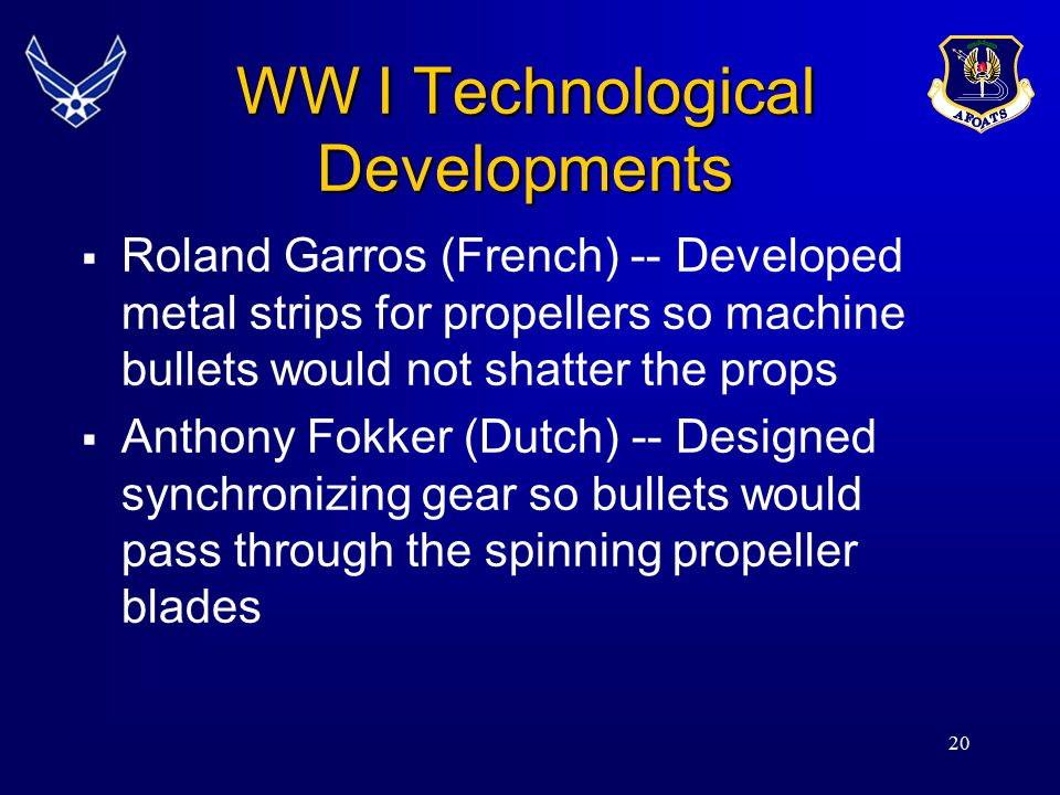 WW I Technological Developments