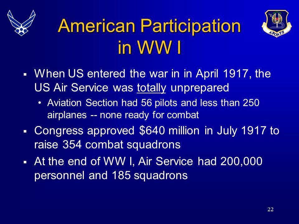American Participation in WW I