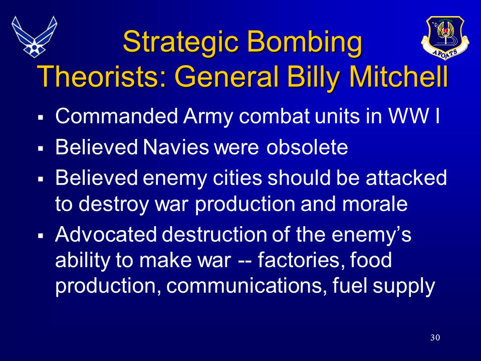 Strategic Bombing Theorists: General Billy Mitchell