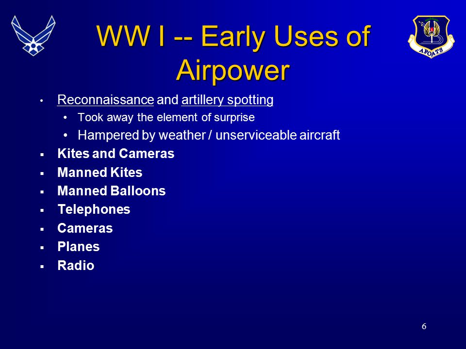 WW I -- Early Uses of Airpower