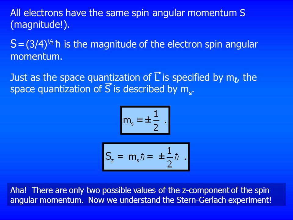 S = (3/4)½ ħ is the magnitude of the electron spin angular momentum.