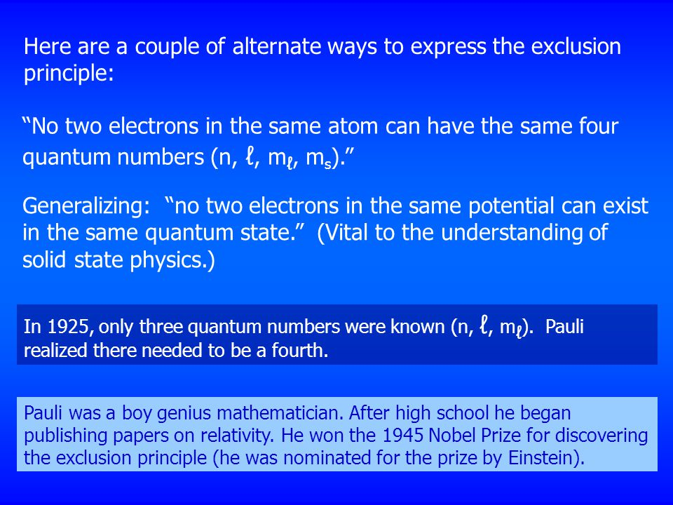 Here are a couple of alternate ways to express the exclusion principle: