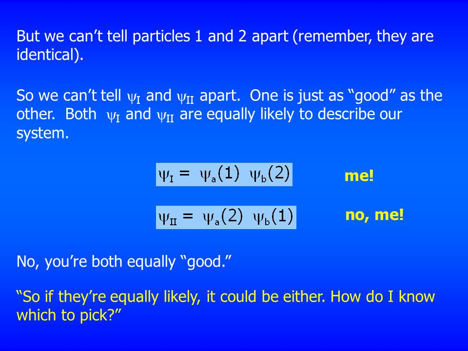 But we can't tell particles 1 and 2 apart (remember, they are identical).