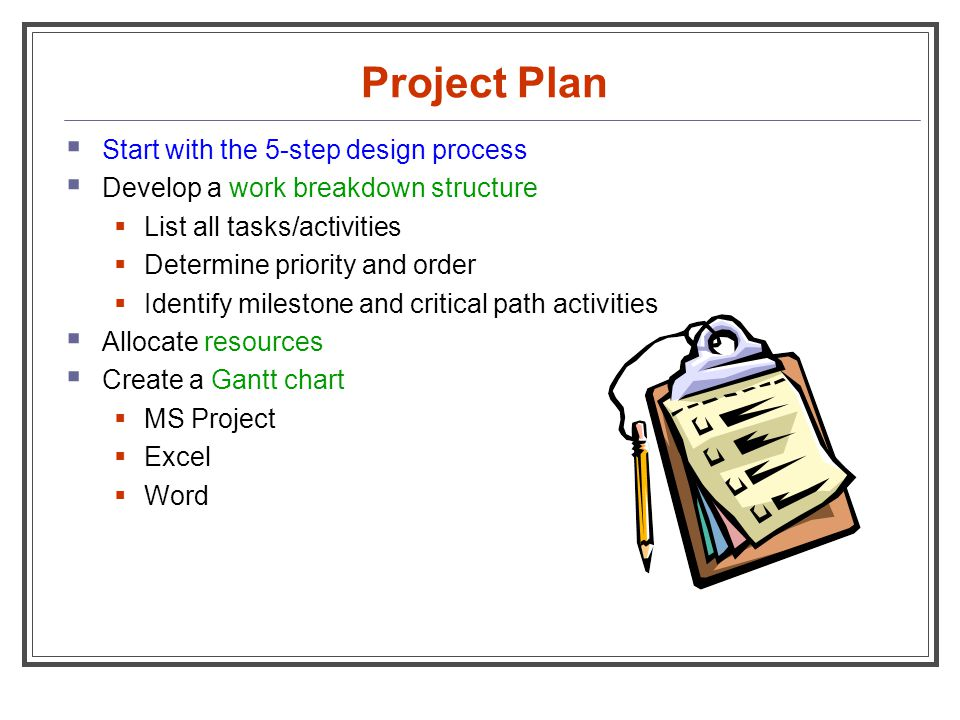 Project Plan Start with the 5-step design process