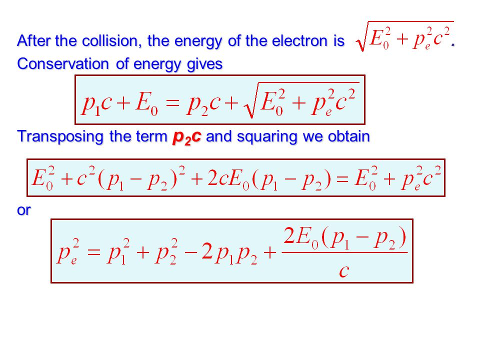 After the collision, the energy of the electron is .