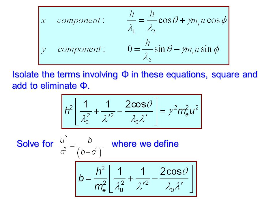 Isolate the terms involving Φ in these equations, square and add to eliminate Φ.