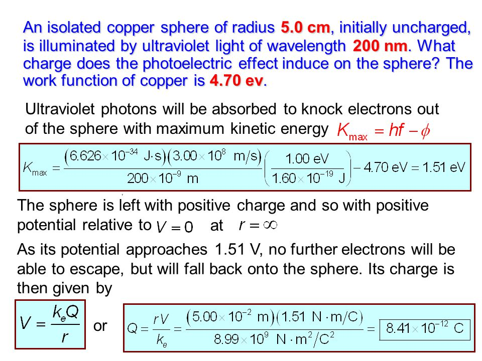 An isolated copper sphere of radius 5
