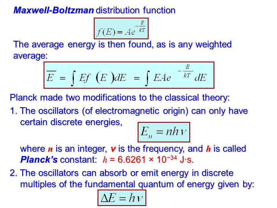 Maxwell-Boltzman distribution function