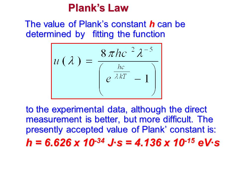 Plank's Law h = 6.626 x 10-34 J·s = 4.136 x 10-15 eV·s