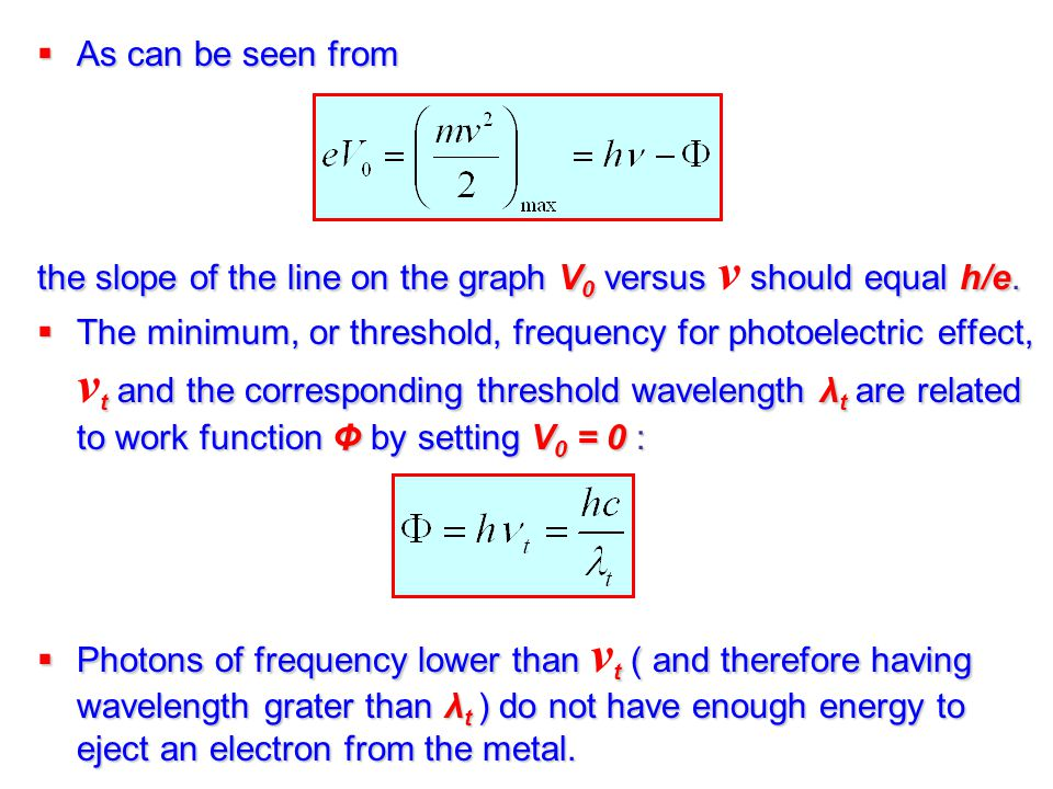 As can be seen from the slope of the line on the graph V0 versus ν should equal h/e.