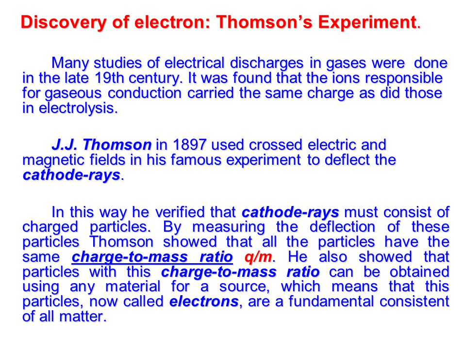 Discovery of electron: Thomson's Experiment.