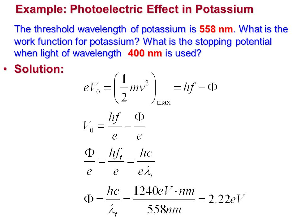 Example: Photoelectric Effect in Potassium