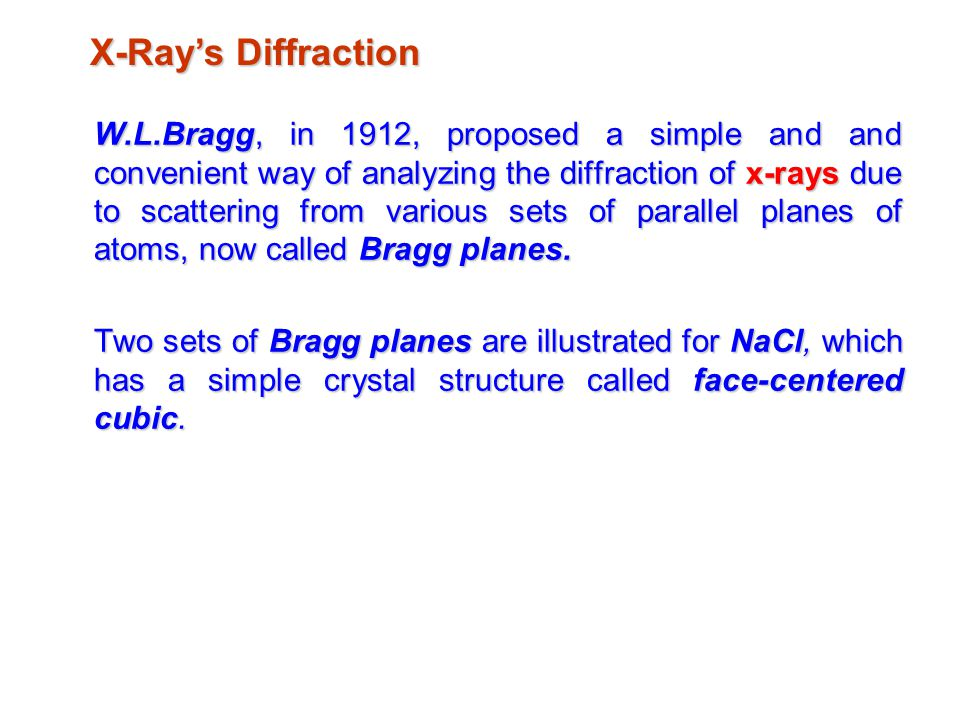 X-Ray's Diffraction