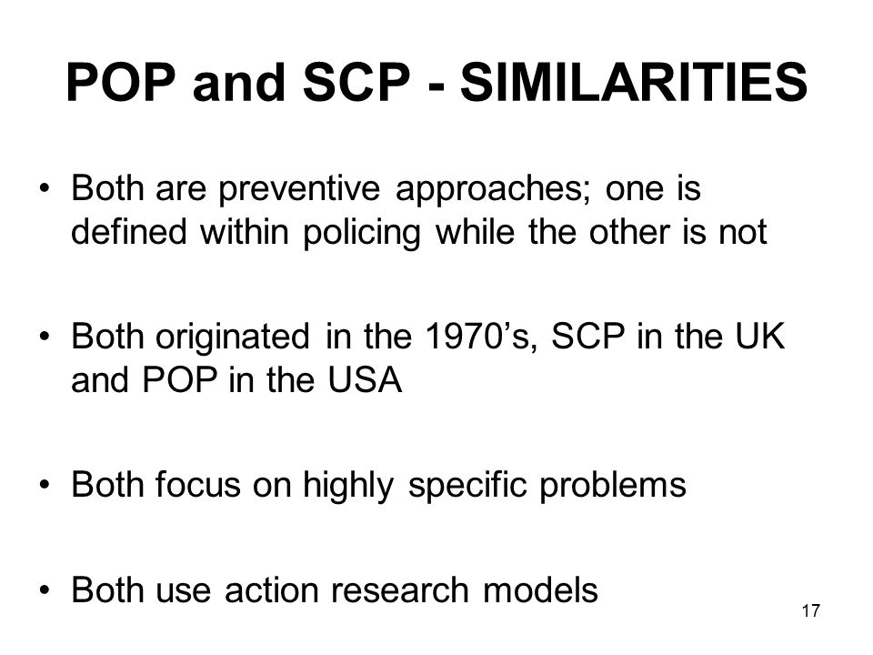 POP and SCP - SIMILARITIES