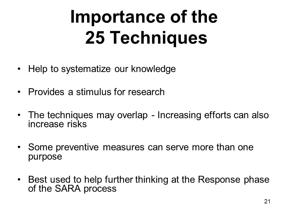 Importance of the 25 Techniques