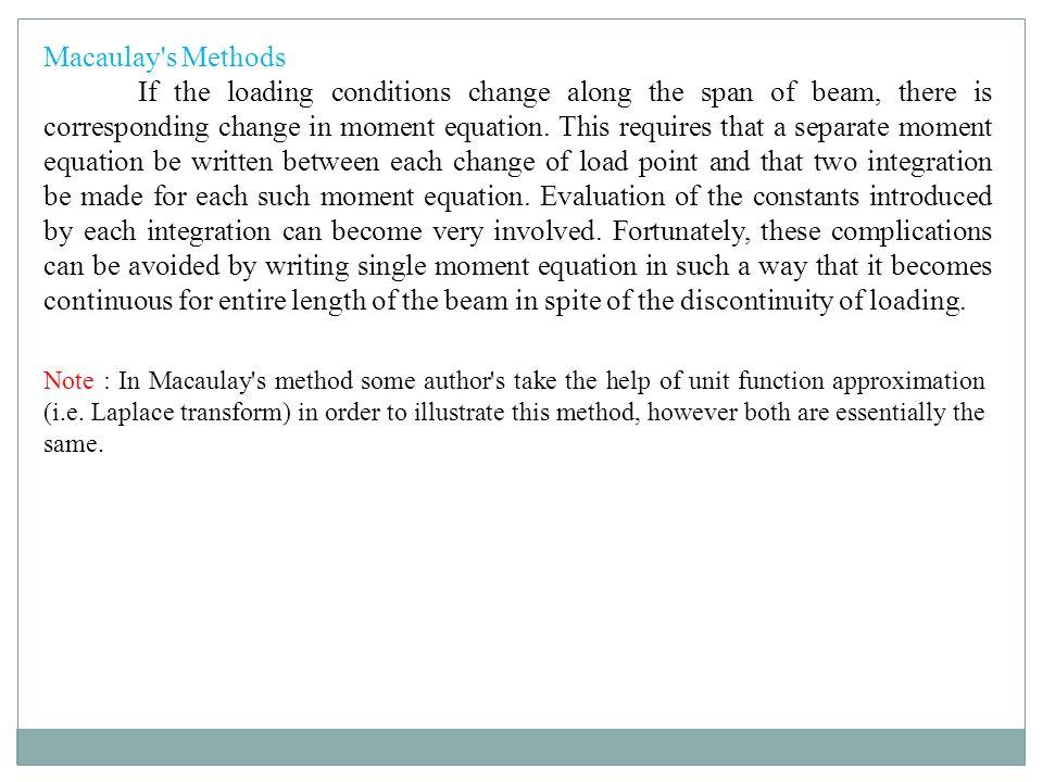 Macaulay s Methods