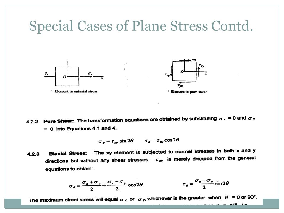 Special Cases of Plane Stress Contd.