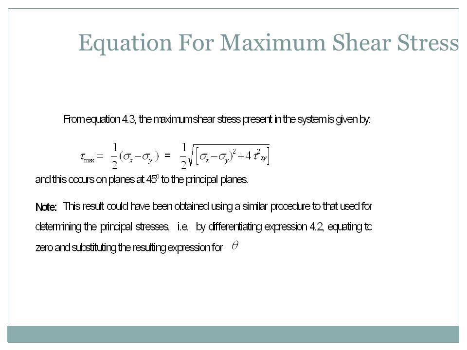 Equation For Maximum Shear Stress