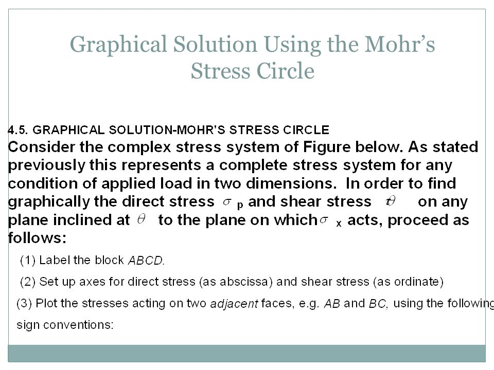 Graphical Solution Using the Mohr's Stress Circle