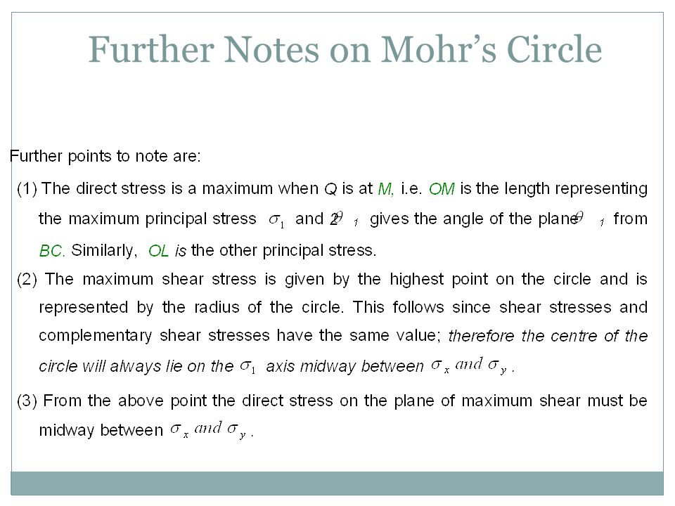 Further Notes on Mohr's Circle