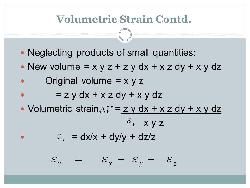 Volumetric Strain Contd.