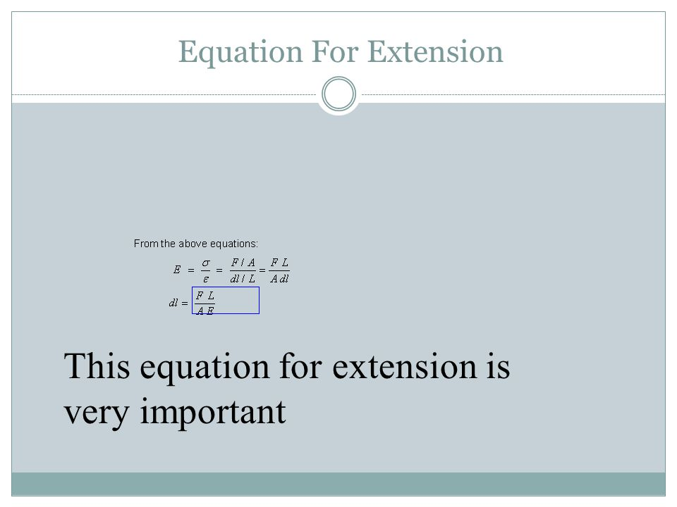 Equation For Extension