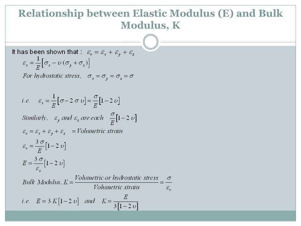 Relationship between Elastic Modulus (E) and Bulk Modulus, K